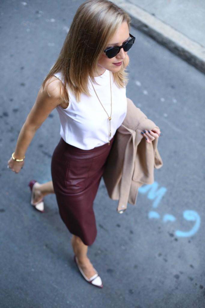 Burgundy Leather Skirt For Work | Memorandum