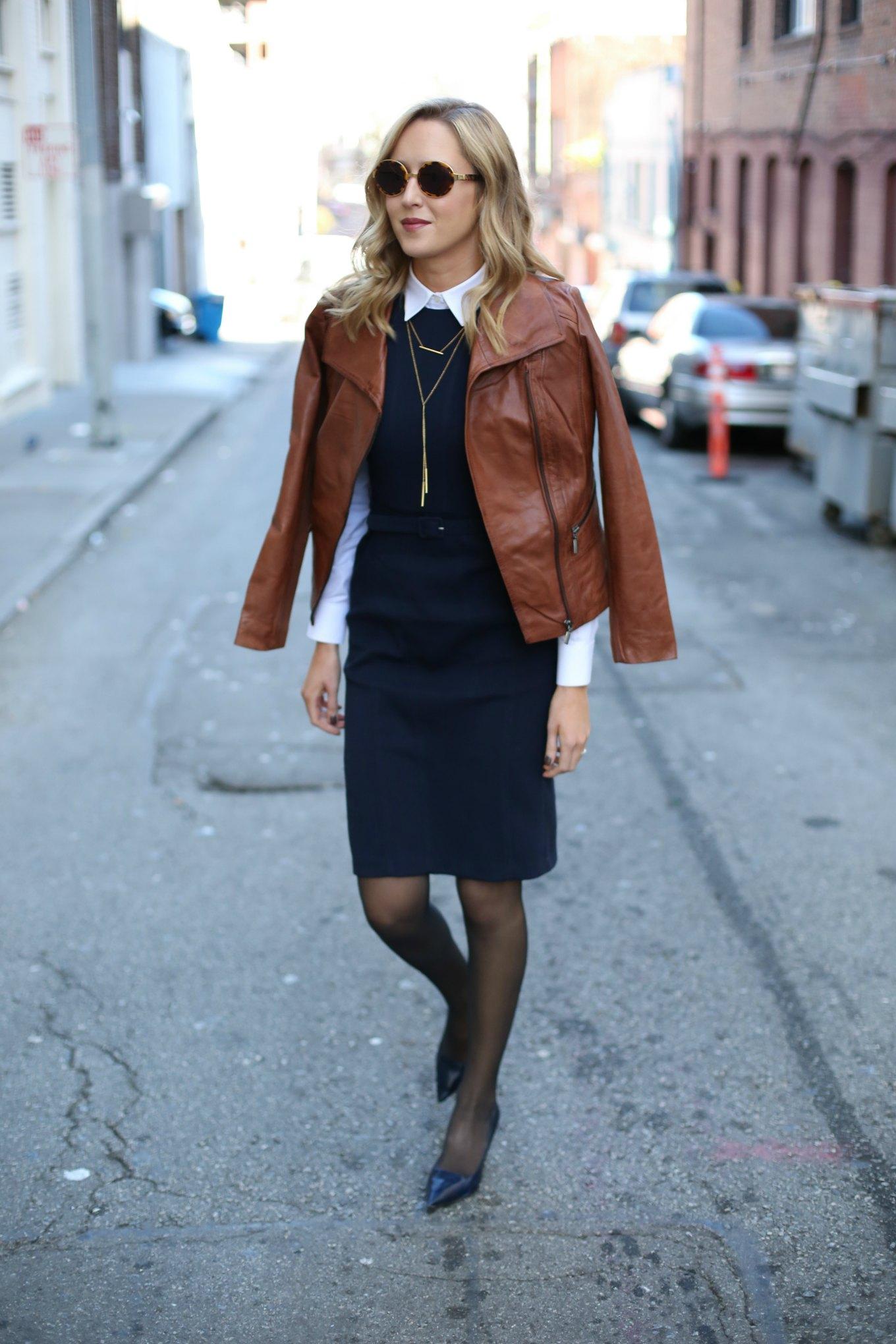 Navy Sheath Dress Leather Moto Jacket Memorandum