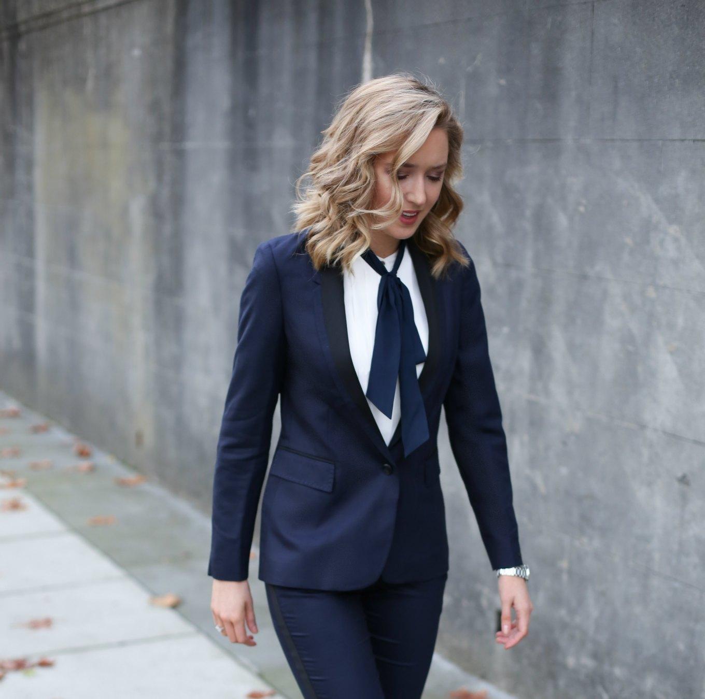ivory tie neck blouse and blazer
