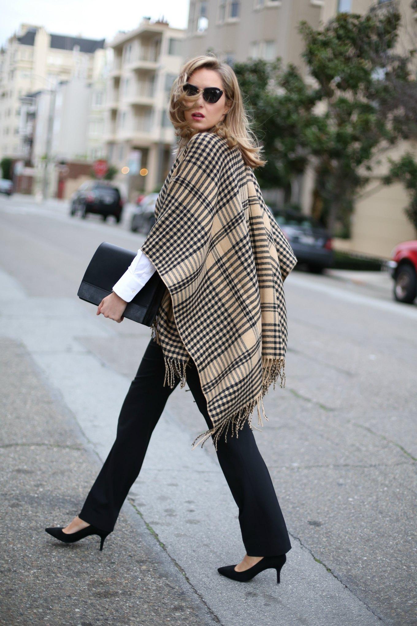 camel-black-plaid-fringe-cape-black-dress-pants-theory-long-shirt-clutch-bow-back-heels-mary-orton-sf-style-blog3