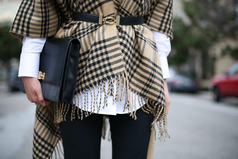 camel-black-plaid-fringe-cape-black-dress-pants-theory-long-shirt-clutch-bow-back-heels-mary-orton-sf-style-blog9