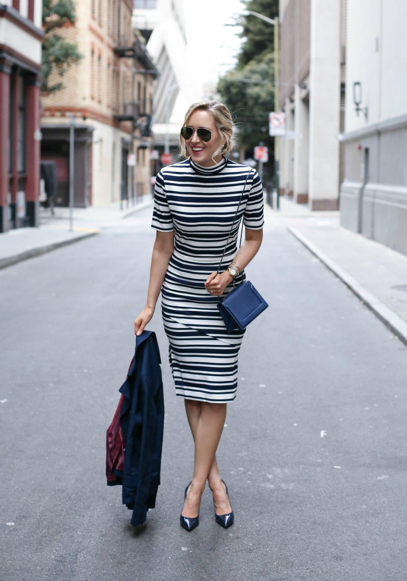 mock neck striped midi dress