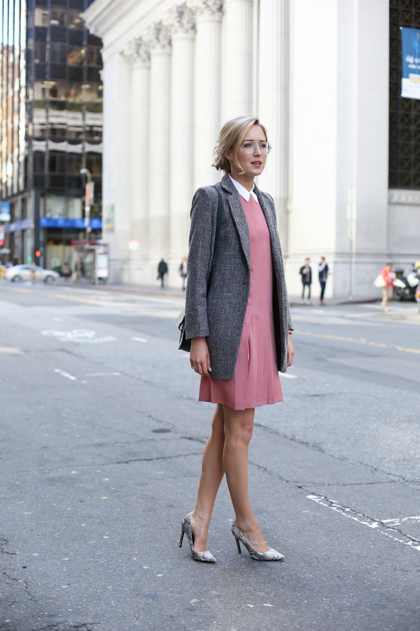 Rose Pleated Dress And Grey Blazer Memorandum Nyc