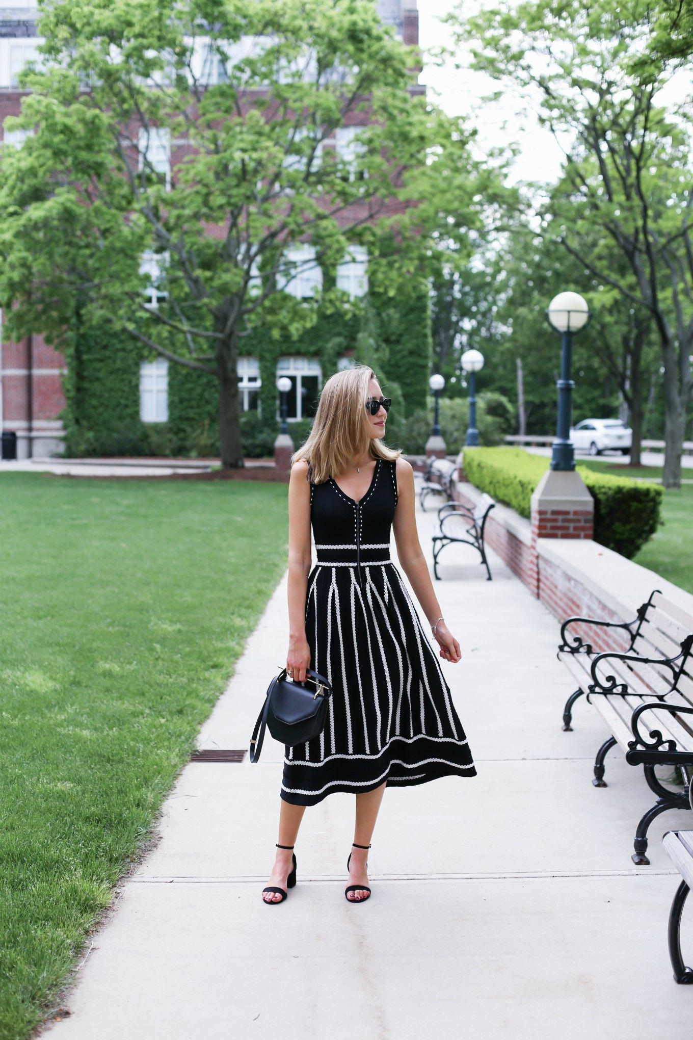 black and white striped midi dress