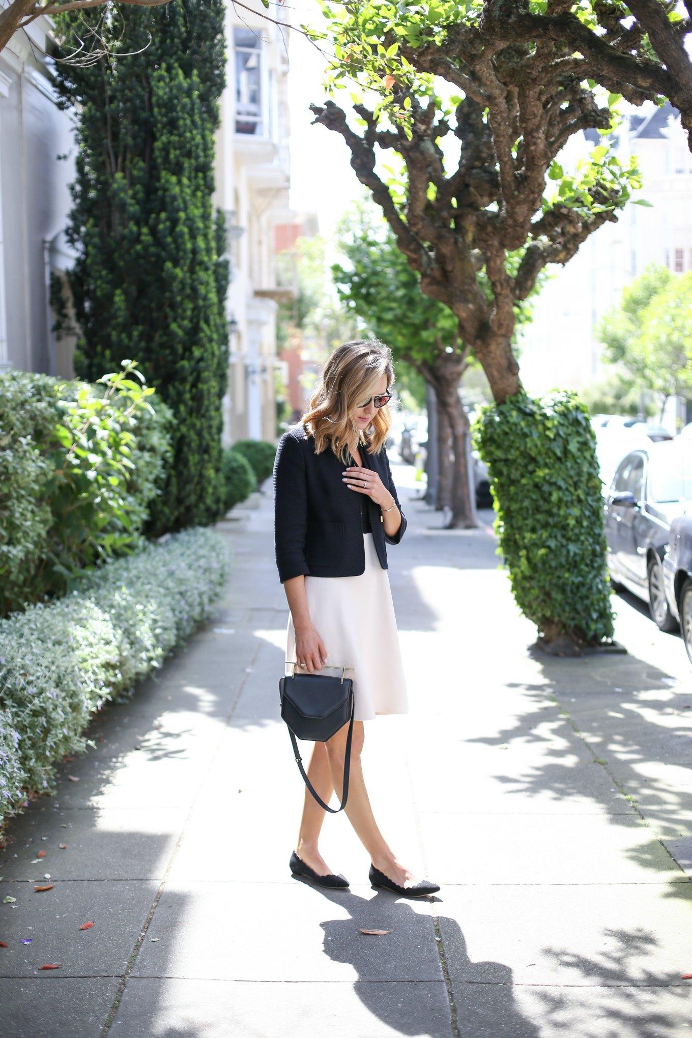 镇-Knit-Flare-Criading-Black-White-Short-Sleeve-Work-Office-Sique-Fashion-Blog-San-Francisco-SF-Classic-Professional1