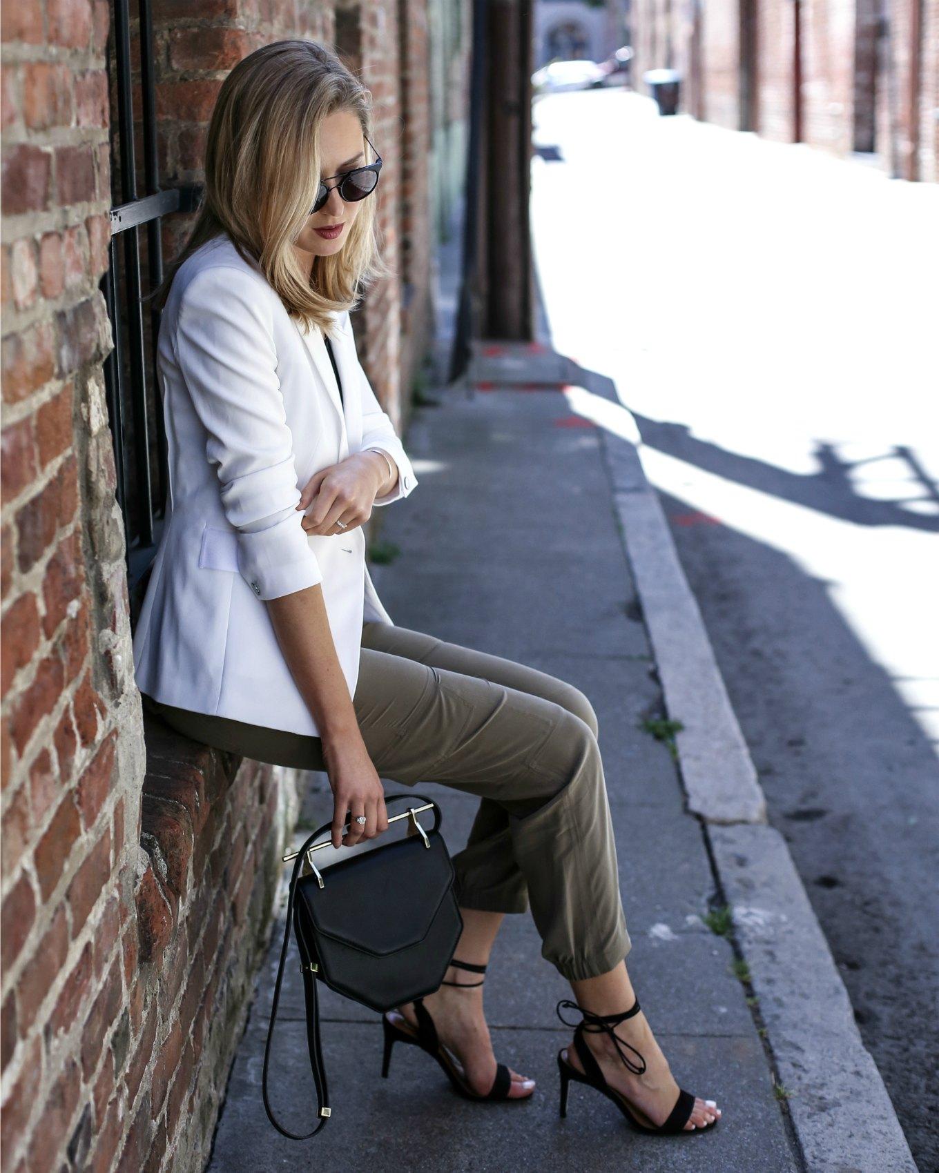 white blazer olive track pants