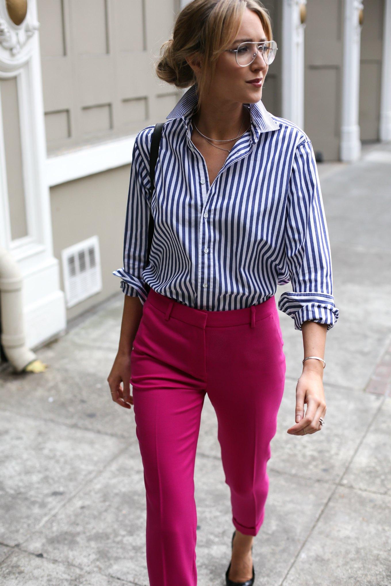 诺德斯特罗姆-j-紫红色,粉红色,袖口破洞的裤子,破布和骨条纹的男朋友衬衫,工作服,时尚风格,博客4