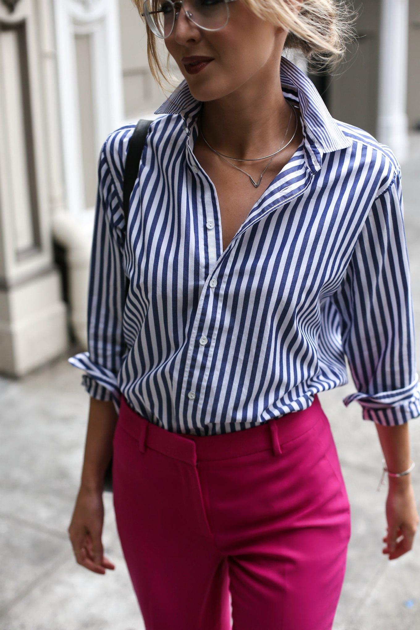 诺德斯特罗姆-j-紫红色,粉红色,袖口破洞的裤子,破布和骨条纹的男朋友衬衫,工作服,时尚风格,博客5