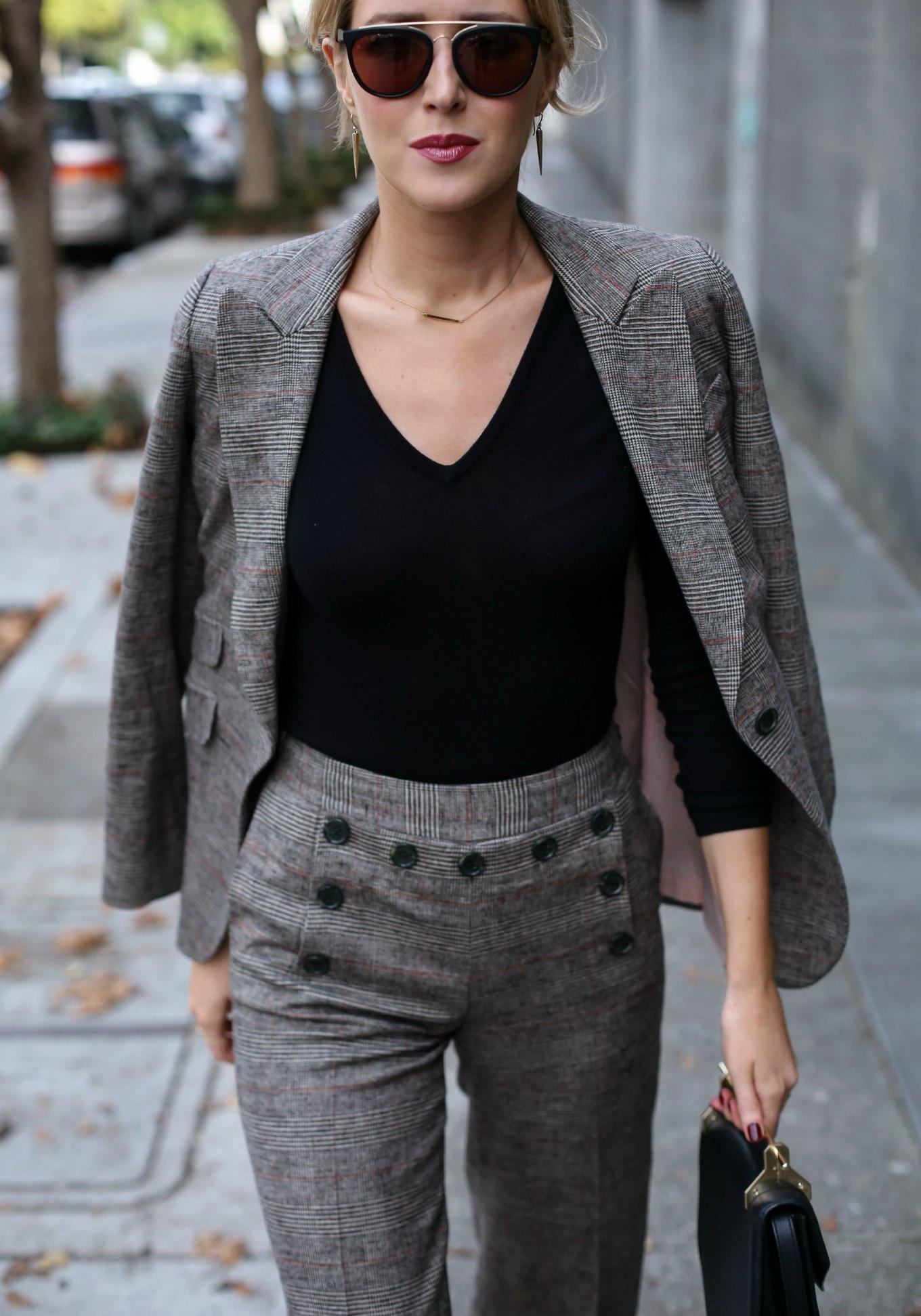 奥利维亚·巴勒莫·切尔西(Olivia-Palermo-chelsea)28诺德斯特伦格伦格纹水手纽扣裙裤和腰果西装外套夹克秋季工作服趋势7