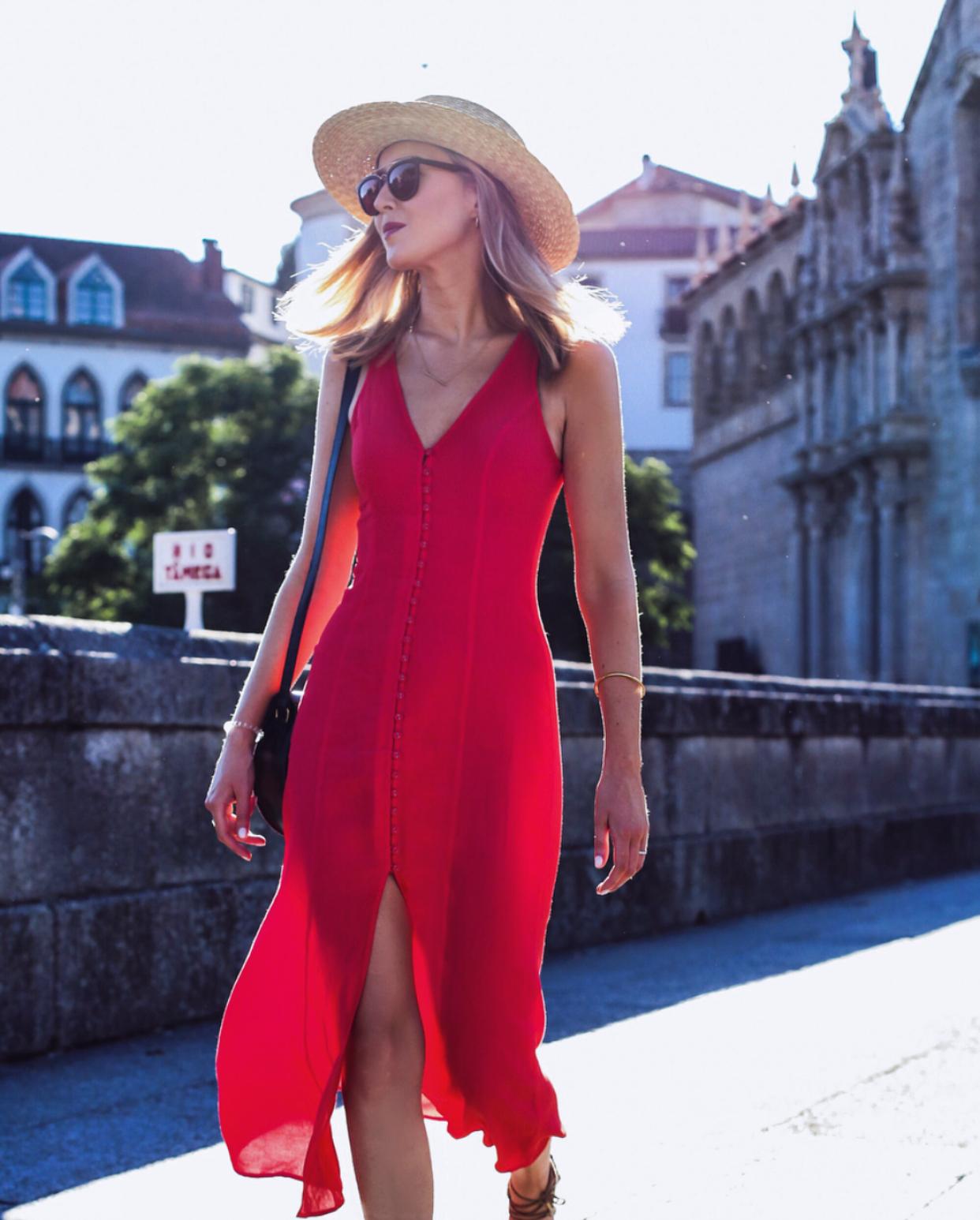 red-linen-midi-dress-boater-hat-in-amarante-portugal