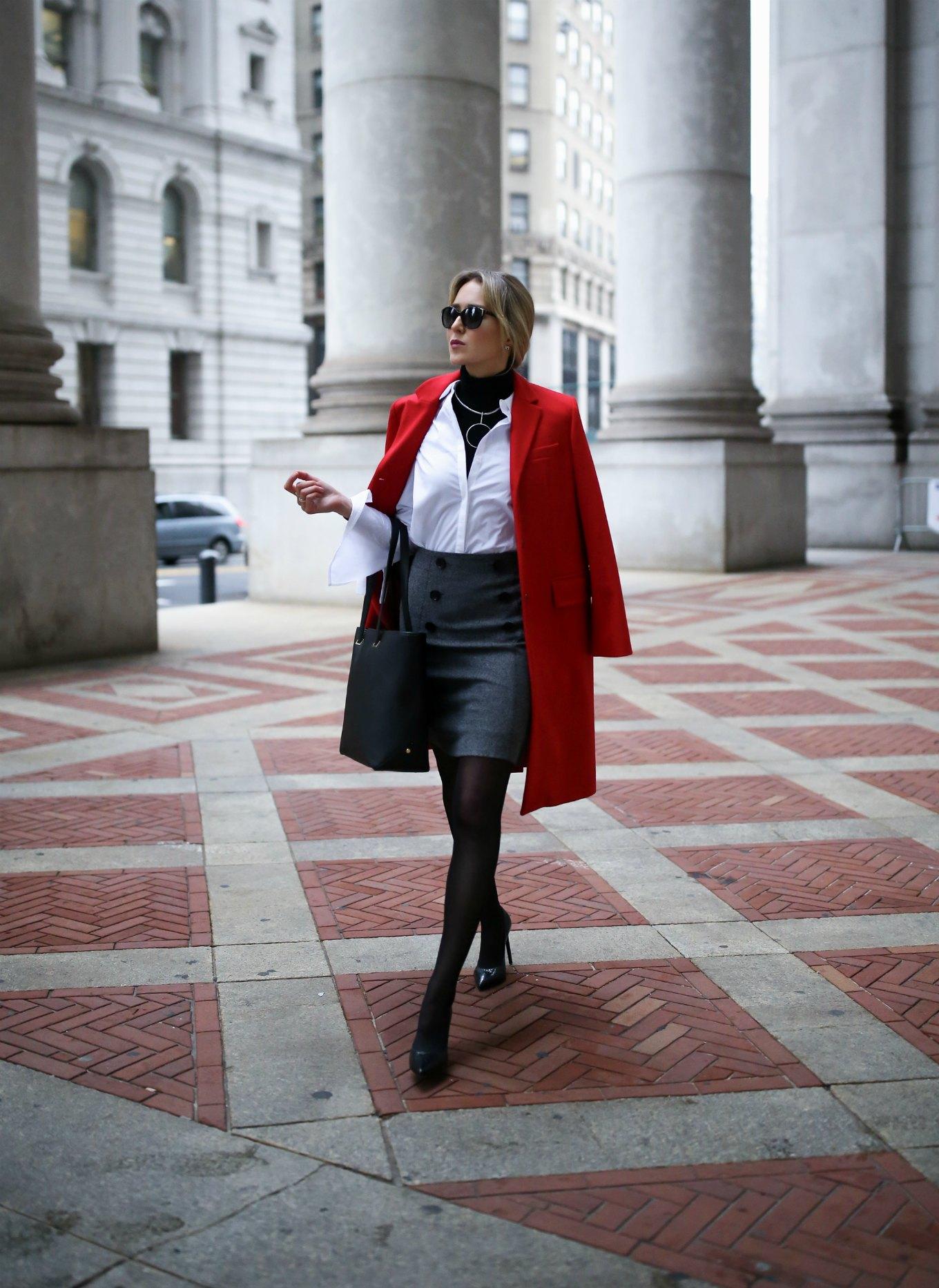 red-oversized-coat-grey-double-breasted-button-mini-skirt-tie-sleeve-white-shirt-layered-turtleneck-work-wear-memorandum-style-blog-nyc2