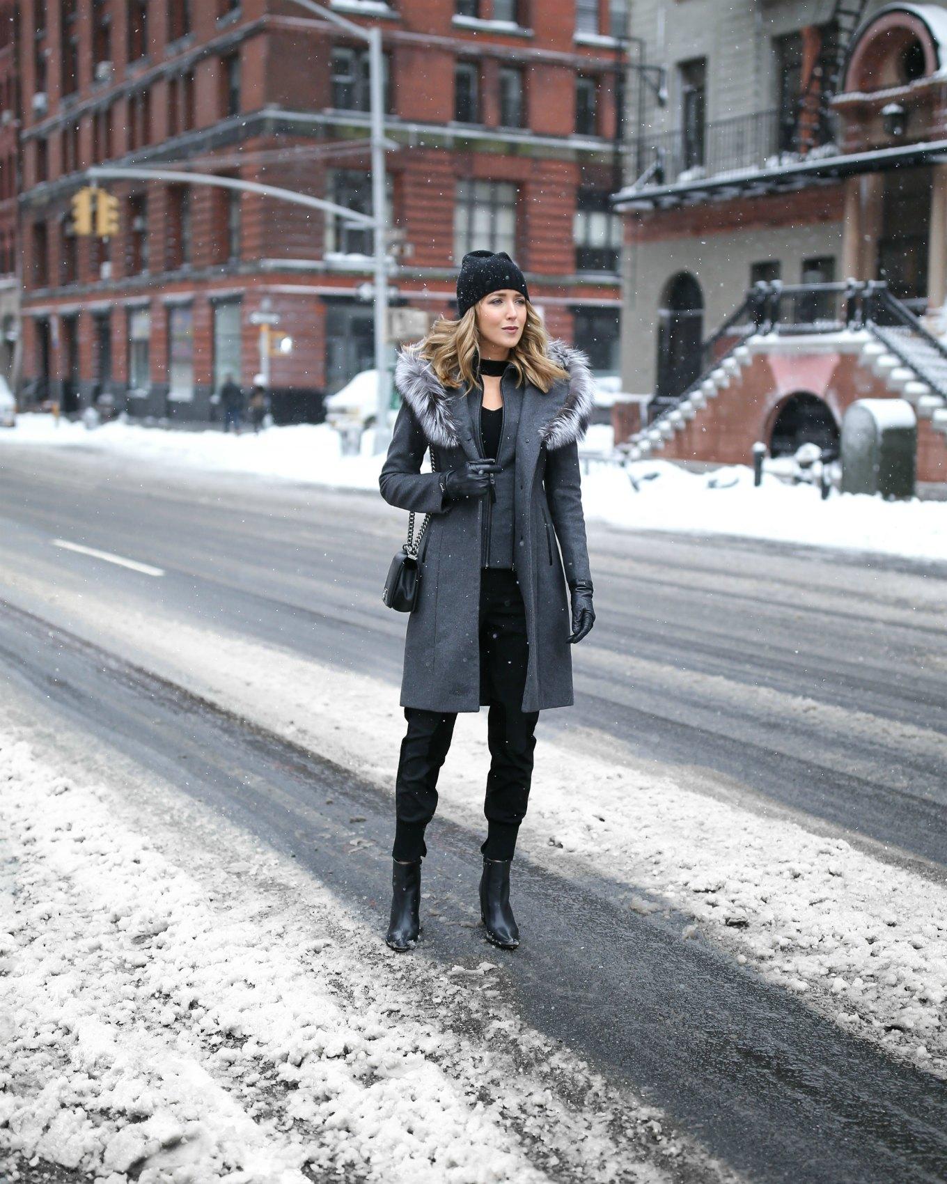 mackage-grey-wool-fur-hood-coat-choker-neck-sweater-track-pants-beanie-nyc-street-style-fashion-week-snow-mary-orton1