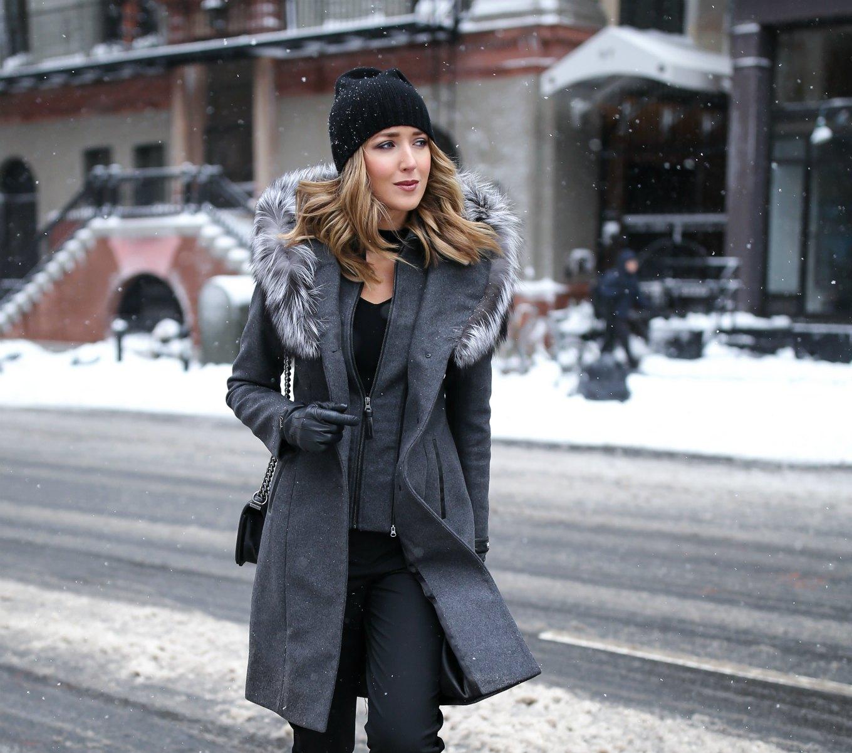 mackage-grey-wool-fur-hood-coat-choker-neck-sweater-track-pants-beanie-nyc-street-style-fashion-week-snow-mary-orton6