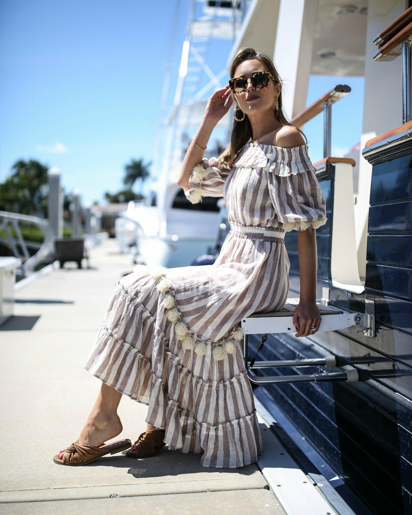classic-style-fashion-blogger-misa-striped-gauze-pom-pom-off-the-shoulder-midi-dress-brown-slide-sandals-tortoise-cat-eye-sunglasses