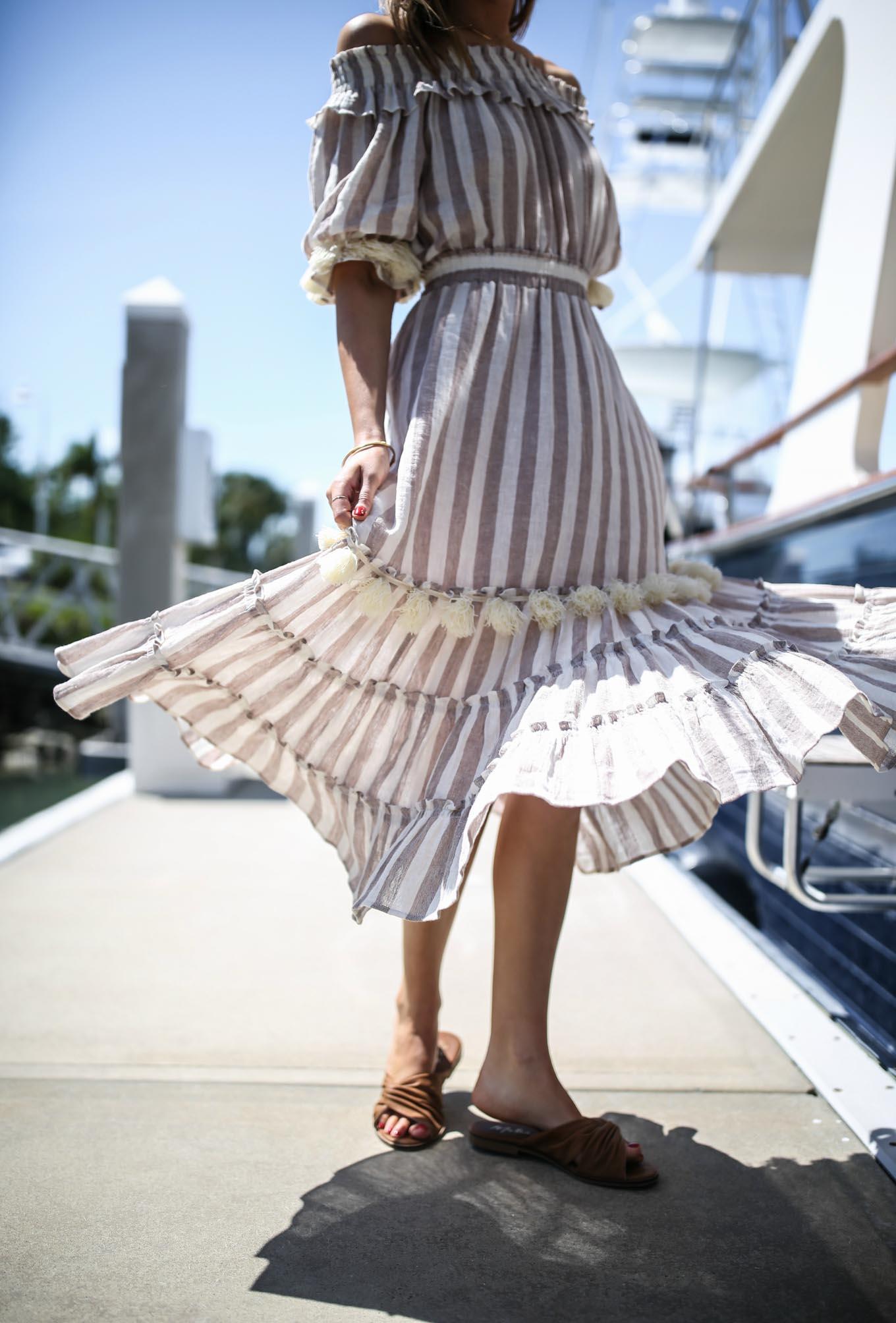 naples-florida-classic-style-fashion-blogger-misa-striped-gauze-pom-pom-midi-dress-brown-knot-slide-sandals
